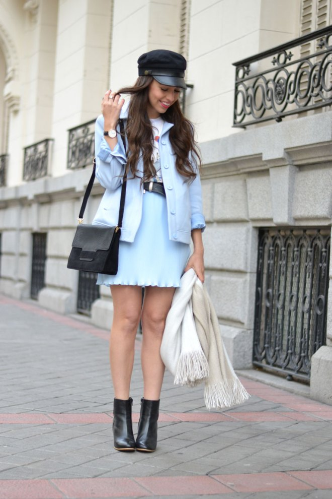 Carven for la redoute, street style, co-ord outfit, baby blue, military cap