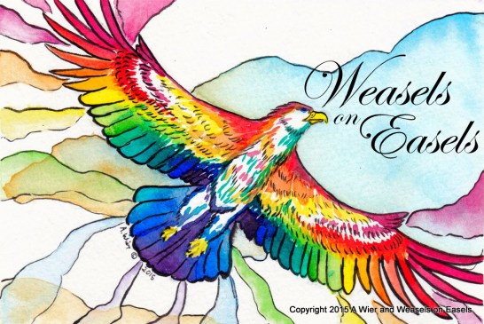 """Flight of ColorOriginal 5"""" x 7""""Dr. Ph Martin ink and W&N Watercolor on Strathmore Coldpress Watercolor Paper"""