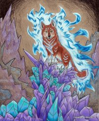 "Wolf's Crystal 8"" x 10""; Colored Pencil Dec, 2014"