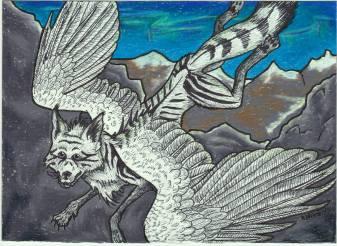 """Falcolf's Post Card 5"""" x 7"""" Art Trade Colored Pencil Jan 2015 (?)"""