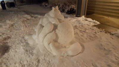 Wolf Snow Sculpture