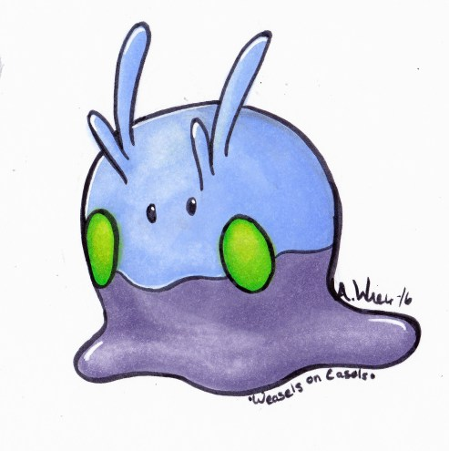 "Goomy Sticker Copic Markers on Strathmore Bristol Paper 3"" x 4"" sticker Design"