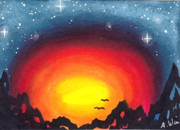"Mountain Sunset Copic Markers on Strathmore Watercolor Paper 2.5"" x 3.5"" ACEO"