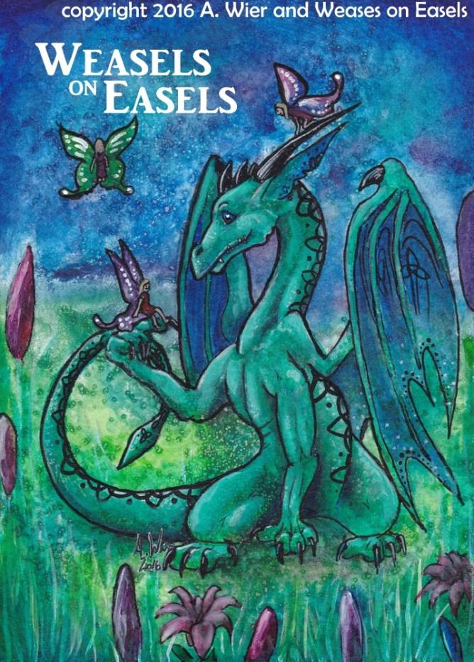"""Dragons and Fairies #2"" Watercolors"