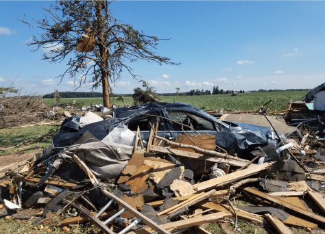 Tornado damage in northeastern Allen County Indiana. NWS photo.