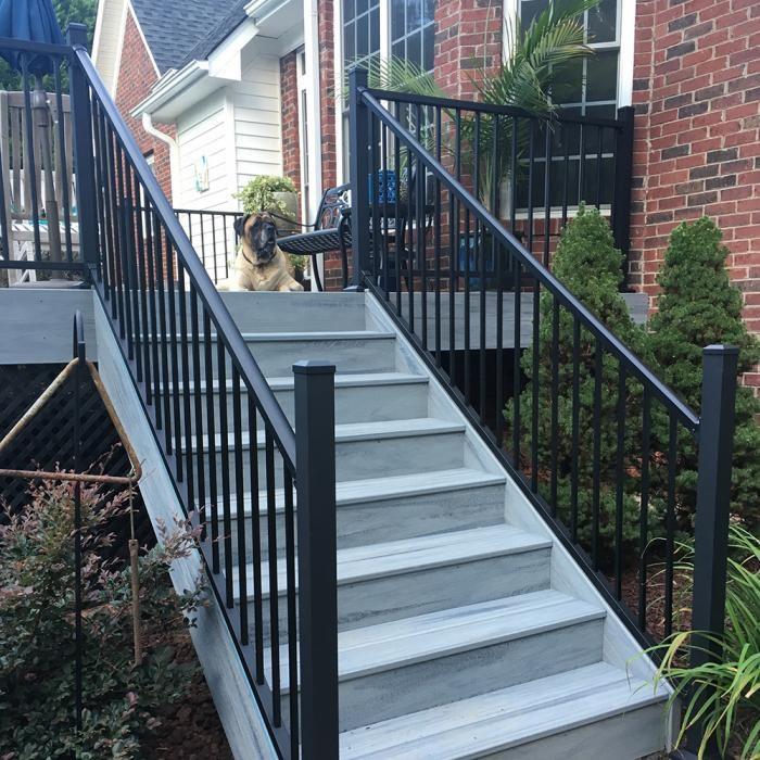 36 Stanford Aluminum Railing Railing Weatherables   Aluminum Handrails For Concrete Steps   Stair   Wood   Front Porch   Back Patio   Mobile Home