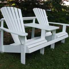 Double Adirondack Chairs With Umbrella Dining Room Chair Slipcovers Arms Seater Tete A Painted Series