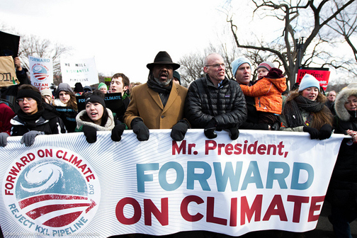 "Protesters at the ""Forward on Climate"" rally in Washington, DC"