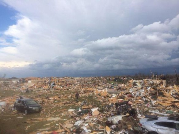 Damage from tornadoes near washington, IL