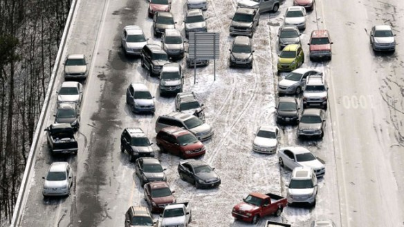 Snow and ice bring travel to a stand still near Atlanta, GA.  Image Credit: Guardian LV