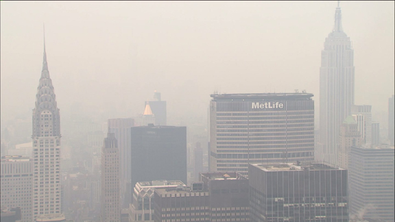 Smoky haze fills the air in NYC.  Image Credit: WPIX.