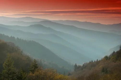 View of blue haze in Great Smoky Mountains National Park.  Image Credit: NPS