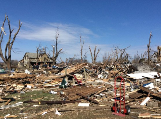 Tornado Damage.  Image Credit: Rockford Fire Dept.