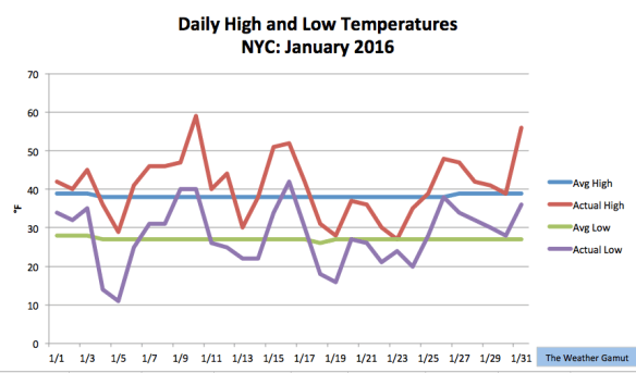 Temperatures in NYC this January felt like they were on a rollercoaster. Credit: The Weather Gamut