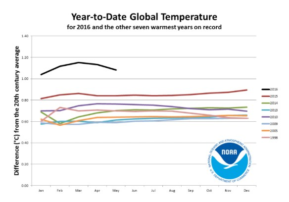 2016 is heads and shoulders above the previous record warm years. Credit: NOAA