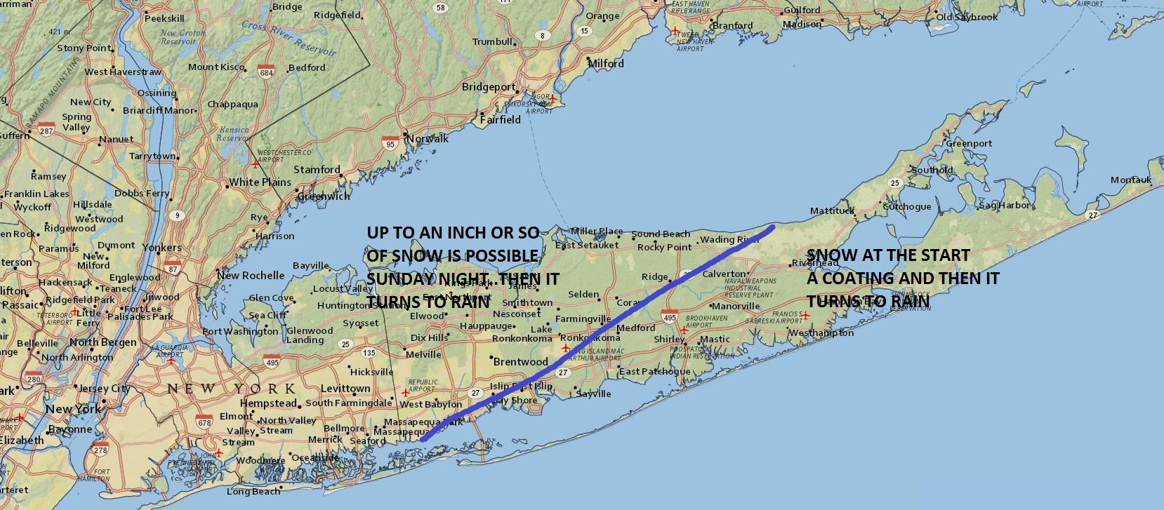 Long Island Snow Forecast Sunday Night Weather Long Island