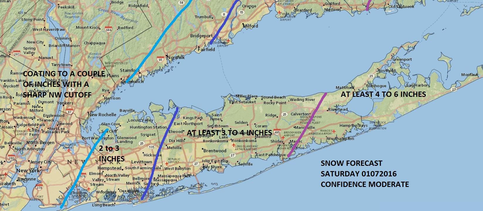 Snow Accumulation Forecast Long Island