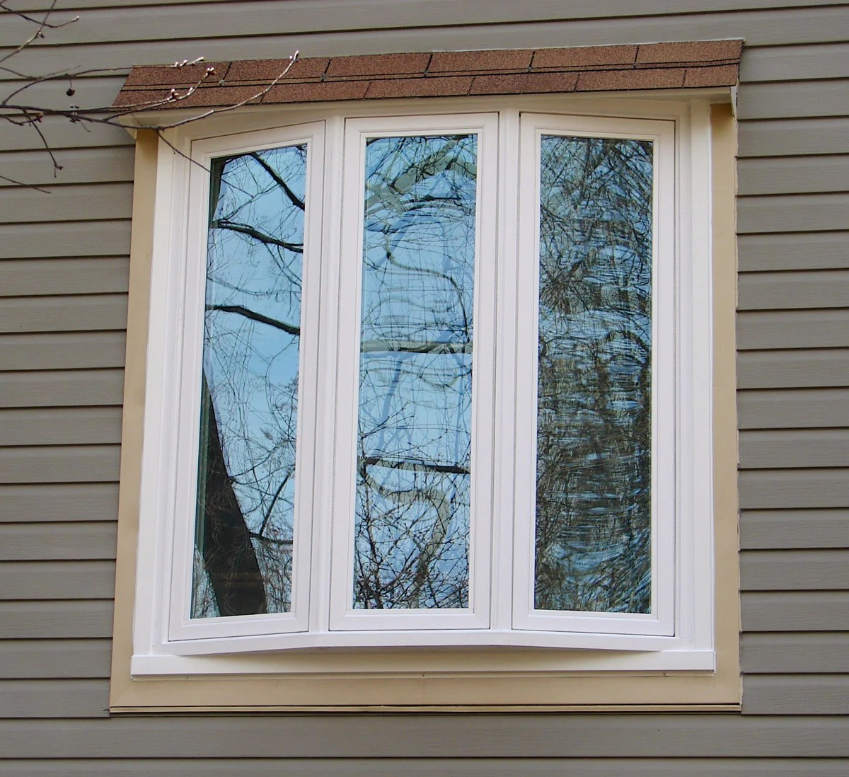 3 Section Bow Window w/ Shed Roof