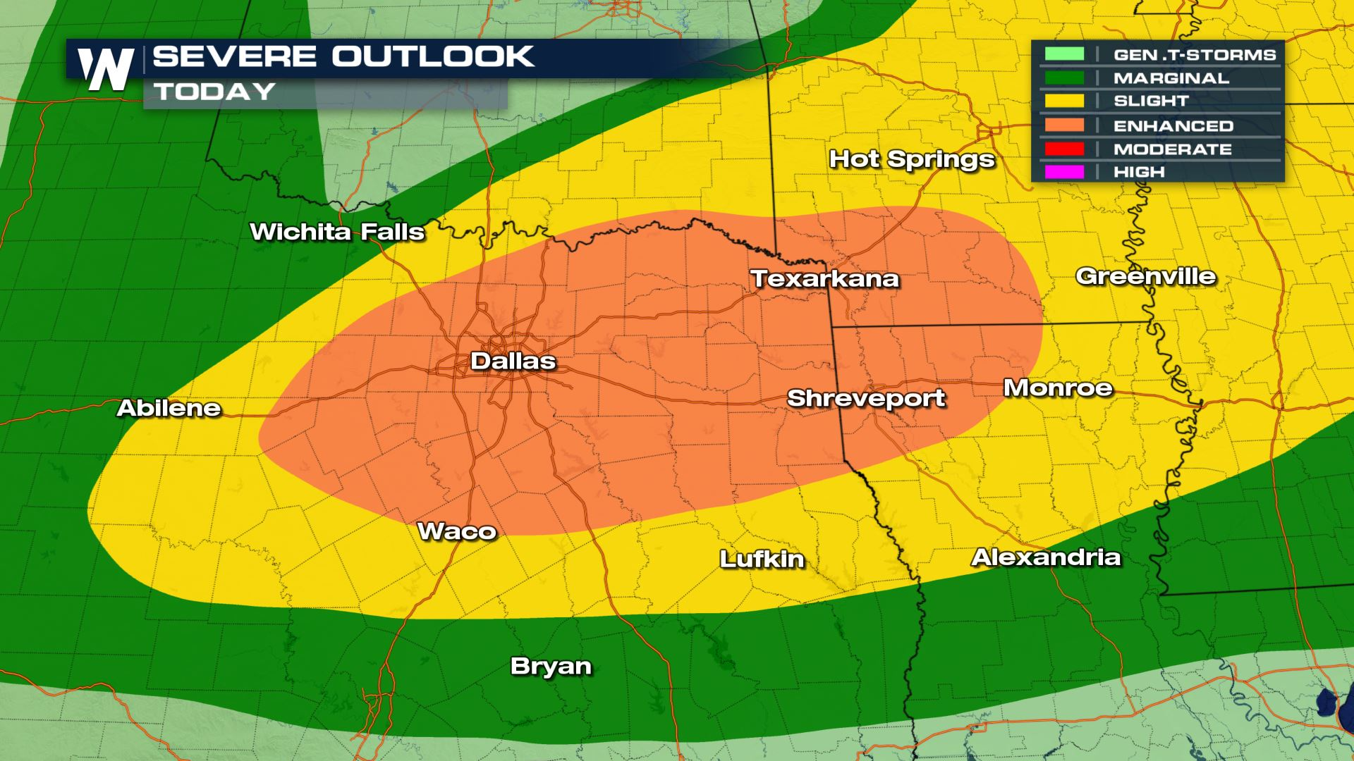 hight resolution of a large area of the nation is under a risk of severe storms from the high plains to the mississippi and tennessee valleys the area that could see numerous