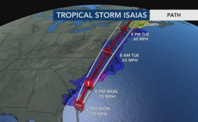 4 P M Isaias Forecast Update From Wral Severe Weather