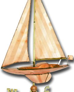 Large Sailboat Copper Weathervane-0