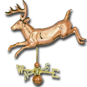 Jumping Deer 3-D Copper Weathervane-0