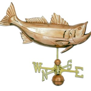 Jumping Bass Copper Weathervane-0