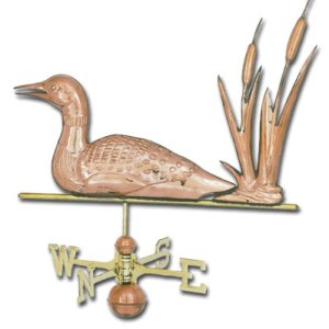 Loon with Cattails Copper Weathervane-0