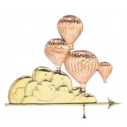Balloonist in Flight Copper Weather Vane-0