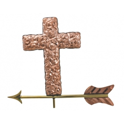 Handmade Christian Cross Copper Weathervane-0