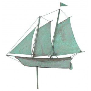 Schooner Sailboat Tarnished Copper