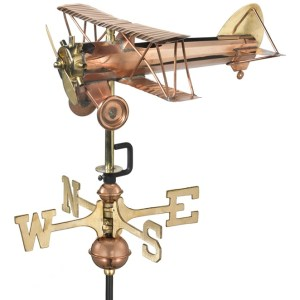 Cottage Sized Biplane Pure Copper Weathervane-0