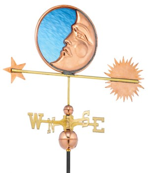 Stained Glass Moon Handcrafted Pure Copper Weathervane -0