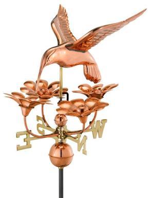 Hummingbird with Flowers Copper Weathervane-0