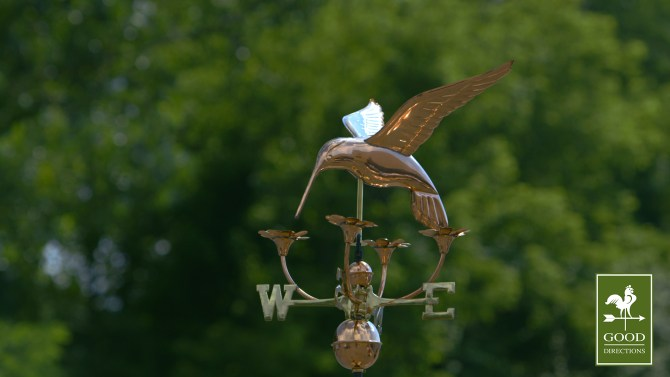 Hummingbird with Flowers Copper Weathervane-759