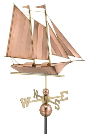 Two Story Home Size Schooner Puer Copper Weathervane-0
