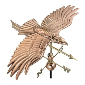 Pure Copper Soaring Hawk Handcrafted Weathervane -0