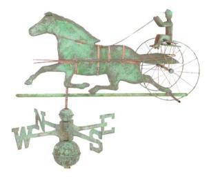 Horse and Sulky Copper Weathervane-0