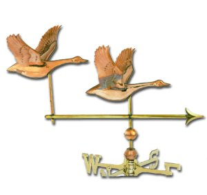 Double Geese 3-D Copper Weathervane-0