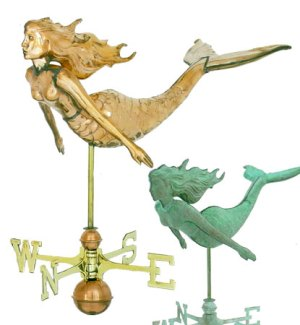 3-D Mermaid Copper Weathervane-0