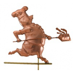 Polished Copper Chef Pig Weathervane-0