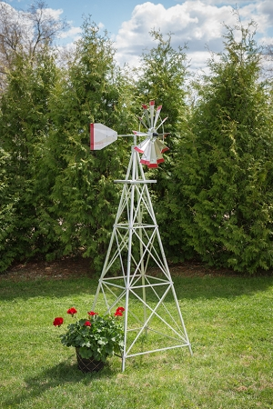 Eight Foot Ornamental Aluminum Windmill-0