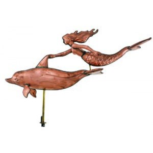 Dolphin and Mermaid Weathervane
