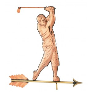 Golfer Swinging Copper Weathervane -0