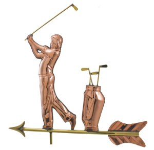 Golfer Swinging With Clubs Copper Weathervane -0