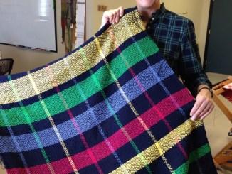 Joann finishes baby blanket