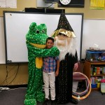 Charlie and William B Wizard posing for pictures with students at our Lena Archuletta school visit.