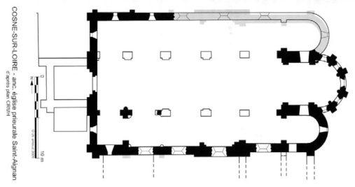 Plan de l'église Saint-Aignan de Cosne sur Loire