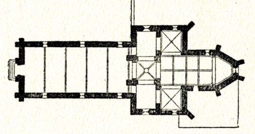 Plan de l'église de Dornes