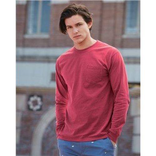 Garment Dyed Heavyweight Ringspun Long Sleeve Pocket T-Shirt